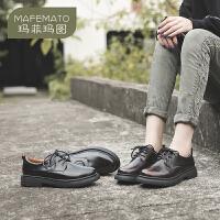 玛菲玛图系带深口鞋女2020夏款学院中性风开边珠牛皮中跟牛津鞋英伦单鞋女687-7K