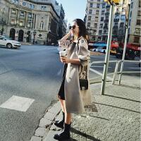 2018韩国春秋新款修身英伦双排扣中长款气质女式风衣外套韩版chic 卡其色