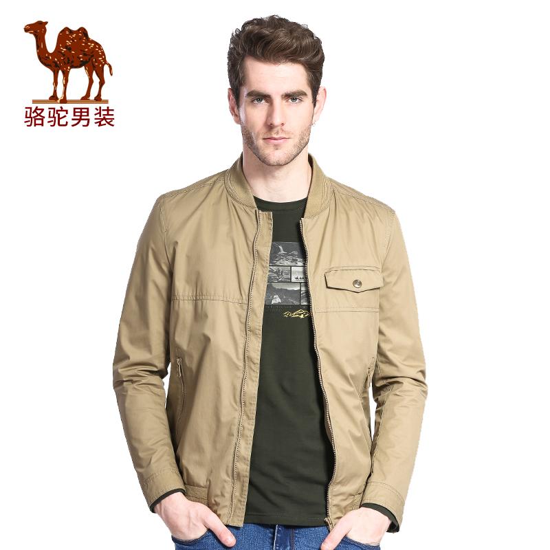 骆驼牌男装 春季时尚休闲棉质长袖外套棒球领夹克衫男