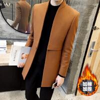 秋冬毛呢大衣男中长款风衣青年韩版修身男士大衣男装立领呢子外套