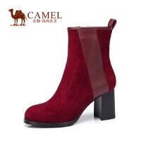 Camel/骆驼女鞋 时尚舒适 羊�S牛皮圆头粗高跟拉链女靴冬新款