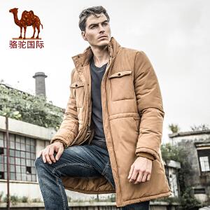 骆驼棉服 冬季新品时尚男士休闲外套中长款纯色棉衣男