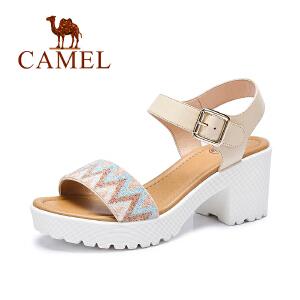 camel骆驼女鞋 时尚休闲 春夏新款女鞋魔术贴高跟凉鞋