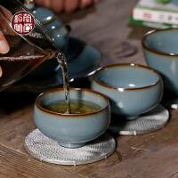 汝窑西园堂罗汉杯湖蓝开片可养仿古功夫小茶杯主人杯品茗单杯陶瓷
