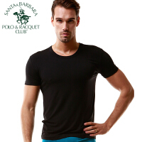 圣大保罗短袖T恤男士打底衫圆领背心纯色莫代尔棉薄款运动紧身潮男式汗衫性感弹力跑步健身青年修身夏季黑色白色