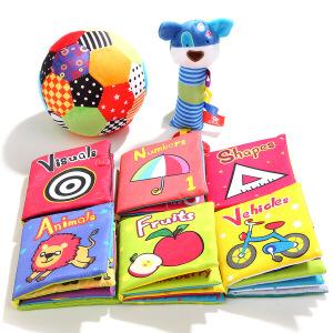 特宝儿 婴幼安抚布艺玩具3件套礼盒装宝宝手抓安抚玩偶婴儿布书铃铛球玩具160017