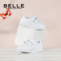 【199元任�x2�p】百��Belle童鞋2017年新款小白鞋中童滑板鞋男童女童三魔�g帖休�e鞋(3~15�q可�x)DE0539