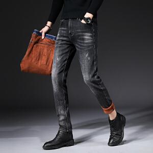 加绒加厚男式牛仔裤秋冬款直筒小脚青年牛仔裤男浅色弹力裤男装潮