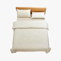 当当优品家纺 纯棉日式色织水洗棉床品 1.8米床 床笠四件套 条纹素麻