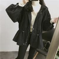 韩国抽绳收腰中长款夹棉连帽加厚风衣宽松黑色工装棉衣外套大衣女 均码