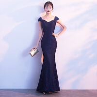 晚礼服女2018新款长款优雅鱼尾显瘦宴会主持人修身公司年会礼服裙 蓝色
