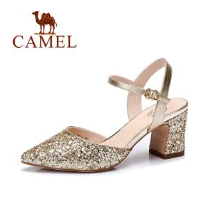 Camel/骆驼女鞋 优雅时尚亮片布/鼓软贴膜羊纹PU尖头高跟大口单鞋