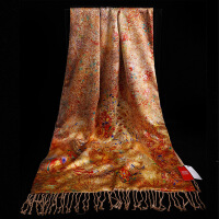 女神气质 丝巾女士长款百搭中国风旗袍围巾新款女双层春秋冬季披肩两用