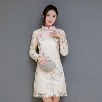 花冬季新款保暖旗袍长袖复古改良中式夹棉加厚少女连衣裙 62235