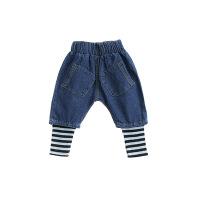韩版男童牛仔裤秋季儿童条纹假两件裤子3-6岁小童休闲装潮童装潮Q007 如图色