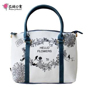 花间公主花环美包2018年时尚潮流单肩斜挎手提包帆布女士包包