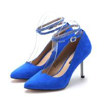 【星期六集团大牌日】ST&SAT/星期六 蓝色绒面羊皮罗马尖头高跟鞋性感显瘦增高SS511155