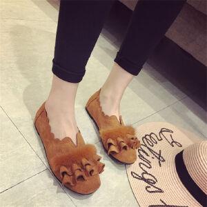 O'SHELL欧希尔新品105-55-2韩版磨砂绒面平底鞋女士水貂毛懒人鞋