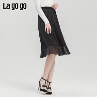 Lagogo2019秋季新款百褶宽松黑色半裙女高腰淑女A字裙ICBB237D53