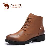 Camel/骆驼女鞋 新款英伦时尚 牛皮圆头系带中跟女靴 新品