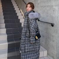 冬季韩版格子宽松棉衣孕妇冬装加厚棉袄外套