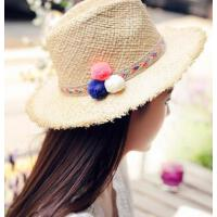 沙滩帽出游海边太阳帽拉菲草帽子遮阳帽女 防晒 可折叠大檐帽 支持礼品卡