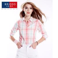 BRIOSO 2017春装新款女式纯棉长袖格子衬衫 基础百搭韩版时尚修身长袖衬衫 大码女装衬衣 WE2695