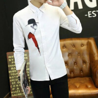 日系复古猫咪小清新文艺白衬衫男长袖修身韩版学生潮流打底衬衣潮