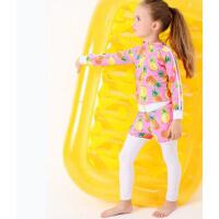 新款 儿童泳衣男童女童分体泳装度假温泉游泳衣防晒长袖泳衣 支持礼品卡