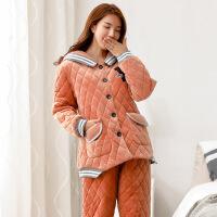 睡衣女士冬季韩版三层加厚珊瑚绒夹棉加绒加棉保暖棉袄家居服套装4117