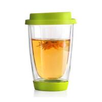 楼龙 耐热玻璃杯 硅胶盖茶杯 创意花茶杯子 CF-89    1312    1301