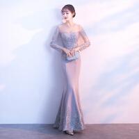 鱼尾晚礼服2018新款时尚宴会长款修身显瘦连衣裙性感长袖礼服