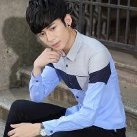 春季牛津纺休闲衬衫男长袖小清新韩版学生打底衬衣青少年潮流帅气