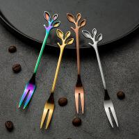 不锈钢树叶叉勺甜品蛋糕小勺子家用餐具咖啡炫彩不锈钢餐具