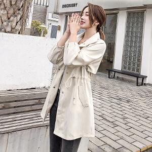 朴衣尚 好质量 小个子风衣女秋装2018新款韩版宽松休闲百搭气质格子中长款外套薄