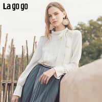 Lagogo2019年秋季新款淑女半高领系带雪纺衫白色上衣女ICSS538C02