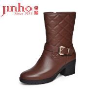 中筒皮靴秋冬季加绒保暖女皮鞋圆头棉鞋高跟鞋女靴