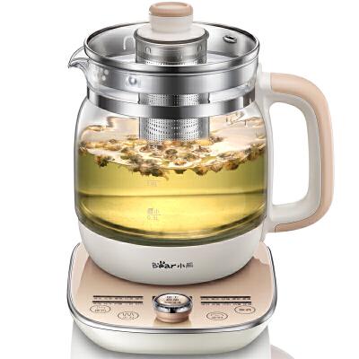 小熊(Bear)养生壶 全自动煮花茶壶加厚玻璃烧水壶煎药壶 YSH-A15W620功能 温度实时显示 1.5升容量 旋钮式按钮