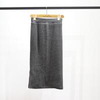 加绒加厚毛线针织包臀保暖半身裙修身中长款高腰裙显瘦开叉一步裙 均码