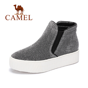 Camel/骆驼女鞋  新款 休闲舒适中跟短靴简约松糕厚底裸靴