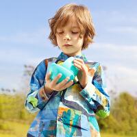 【2件3折价:119.7元】马拉丁童装男童长袖衬衫春装新款时尚潮流满印儿童衬衫男长袖