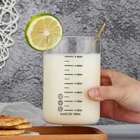 早餐杯冲泡牛奶杯咖啡杯子耐高温带刻度玻璃水杯家用玻璃杯