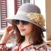 户外帽子女韩版亚麻花朵草帽圆顶遮阳帽太阳帽沙滩帽礼帽凉帽女帽新款