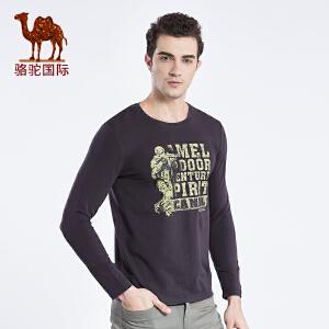 骆驼牌男装 2017春季新款时尚休闲棉质圆领印花字母长袖T恤衫男