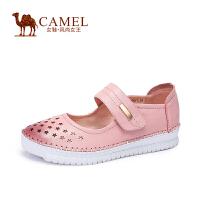 Camel/骆驼女鞋 休闲舒适 水染牛皮圆头镂空魔术贴低跟单鞋春鞋