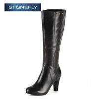 STONEFLY/斯通富来冬季牛皮时尚休闲高跟侧拉链长筒靴女士高筒靴SD44117078