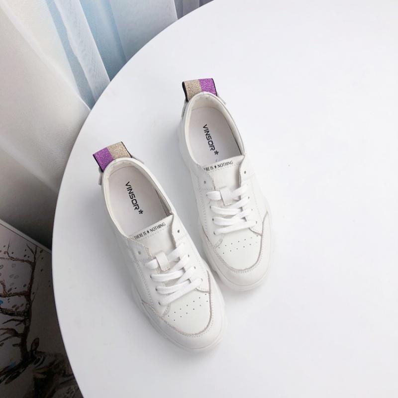 小白鞋女秋季韩版系带休闲运动鞋平底小单鞋 白色