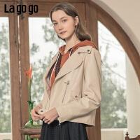 Lagogo/拉谷谷2020新款西装领斜门襟外套女JARR131A49