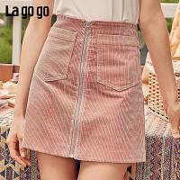 Lgogo/拉谷谷2019新款复古灯芯绒A字半身短裙女ICBB157G26
