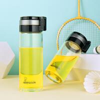 希诺玻璃杯单层加厚车载户外大容量便携提环水杯耐热过滤泡茶杯子530ml